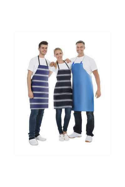 Group Of Happy Janitors Wearing Blue Apron Over White Background